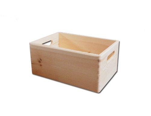 2 x Boîte en Bois Naturel Non Peint - Boîte à Outils - DIY Caisse de Rangement avec Poignées / Boîte à Jouets 30 x 20 x 14 cm