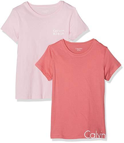 Calvin klein 2pk ss tees, t-shirt bambina, rosa (1 desert rose/1 unique pink 615), 176 (taglia produttore: 14-16)(pacco da 2)