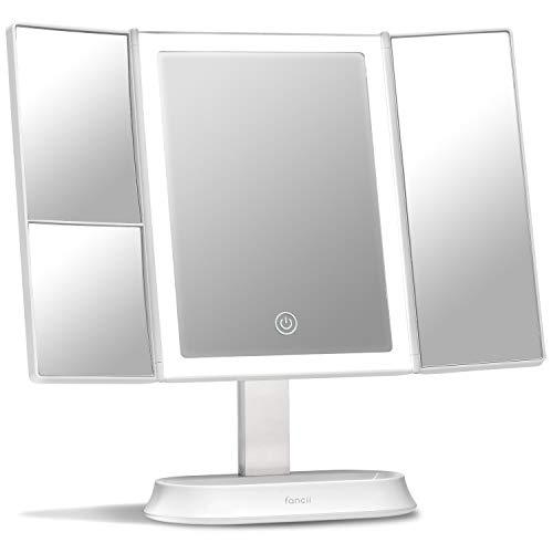 Fancii Espejo Maquillaje con Luz y Aumento 5x y 7x, Espejo de Mesa Cosmético con 40 Luces LED Naturales...