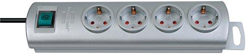 Brennenstuhl 149911 - Regleta con 4 tomas + interruptor, color gris