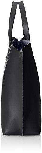 CTM Borsa a Mano da Donna Elegante, 47x30x14cm, Vera pelle 100% Made in Italy Nero