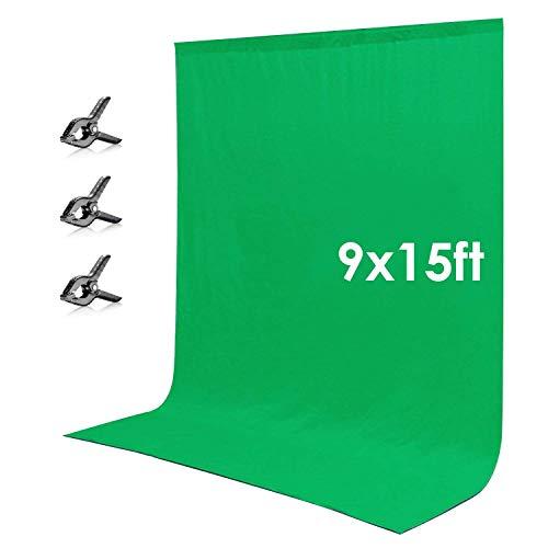 Neewer 2,8x4,6m Fondale Sfondo Fotografico in Tessuto con 3pz Clip per Fotografia Registrazioni Video (Verde)