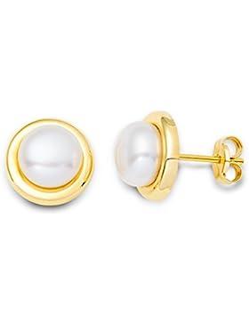 Miore Damen-Ohrstecker 9 Karat (375) Gelbgold Perlen 7 mm MA9075E