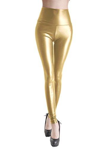 Queenshiny® Damen wetlook latexlook Ganzkörper Leggings Hohe Taille Leder Optik (nass flüssige Gold, l)