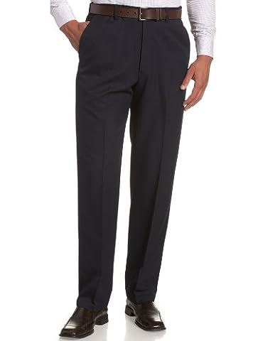 Haggar Men's Cool 18 Hidden Expandable Waist Plain Front Pant,Navy,44x32