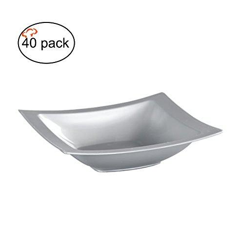 tigerchef tc-20319Schwergewicht rechteckig, Kunststoff Teller, Fancy Party Teller, 5Unze Kapazität, Silber (40Stück) (Schwergewichts-kunststoff-teller)
