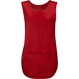 Absolute Apparel Womens Pocket Tabard Ladies Kitchen Workwear Tabard (S, RED)