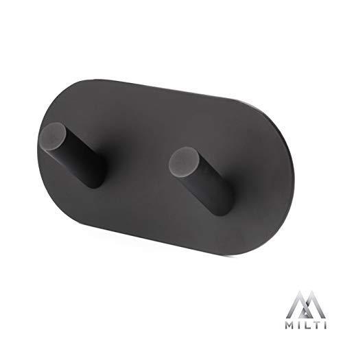 Milti Design Handtuchhaken in Schwarz aus gebürstetem Edelstahl 304 - Selbstklebend - Handtuchhalter zum kleben mit hochwertigem 3M Kleber