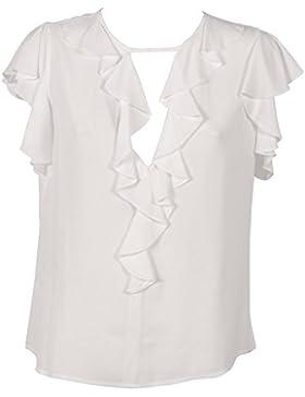 PINKO. Blusa Donna Uguagliare Bianca con Rouches Manica Corta in Crepe de Chine in Viscosa 100% Viscosa 1G136F6835Z05
