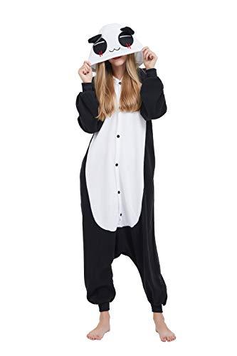 Fandecie Tier Kostüm Tierkostüm Tier Schlafanzug Panda Pyjamas Jumpsuit Kigurumi Damen Herren Erwachsene Cosplay Tier Fasching Karneval Halloween (Panda, M:Höhe 160-169cm)