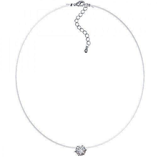 BOBIJOO Jewelry - Collier Femme Fil de Pêche Nylon Transparent et Strass Solitaire Faux Diamant
