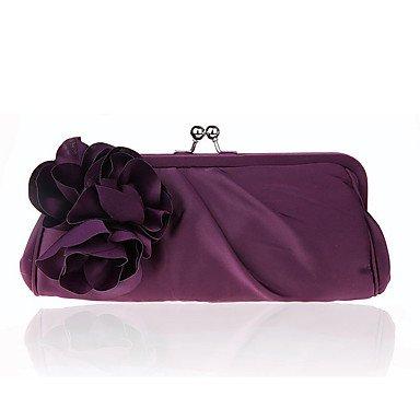 pwne L. In West Frauen Elegante Hochwertige Seide Und Satins Blume Abend Tasche Purple