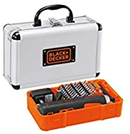Black+Decker 4V Li-Ion Cordless Power Push-n-Go Screwdriver with 27 Accessories in Aluminium Kitbox for Home &