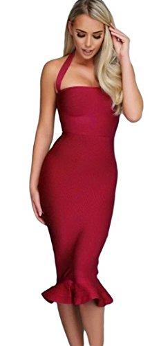 EOZY Robe Épaule Évasé Sans Manches Rétro Vintage Robe De Soirée Rouge
