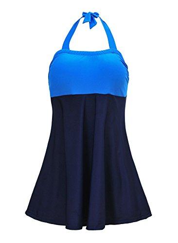 Azue Einteilig Tankini Set Neckholder Swimdress Bauchweg Bademode Badeanzug für Damen und Mädchen Blau und Schwarz EU 40-42 (Tag M) (Swimdress Trägerlos)