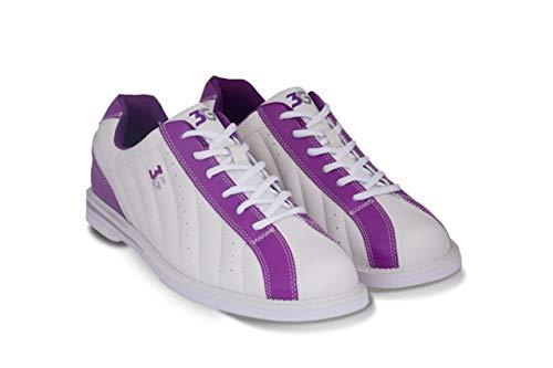 Bowling-Schuhe, 3G Kicks, Damen und Herren, für Rechts- und Linkshänder in 7 Farben Schuhgröße 36-48 (weiß-lila, 38 (US-D 8))