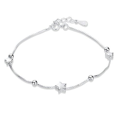 SILVERAGE 925 Sterling Silber Fünfzackigen Stern Charme Armbänder & Armreifen für Frauen Mädchen Moving Stars Design (Kostüm Charme Armbänder)