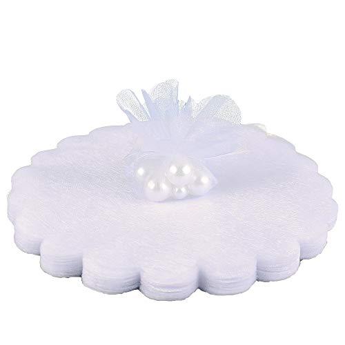 Gudotra 100pz velo di fata organza bianco tondo tulle portaconfetti organza veletti per matrimonio nascita bomboniere laurea tulle confetti