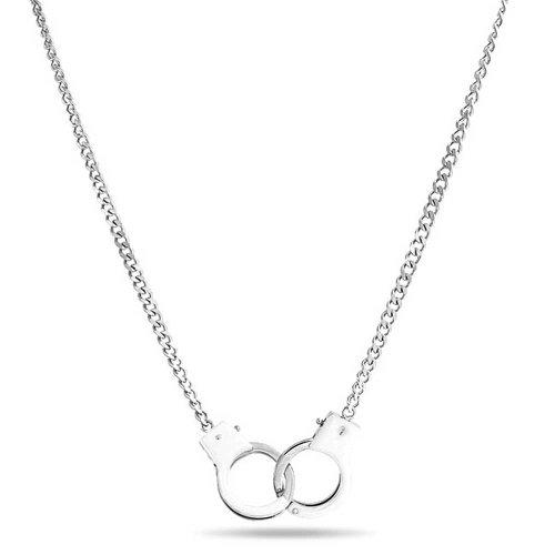 Bling Jewelry Geheimnis Farbtöne weißer Emailfarbe Handschellen Anhänger aus Edelstahl Halskette 18 Zoll