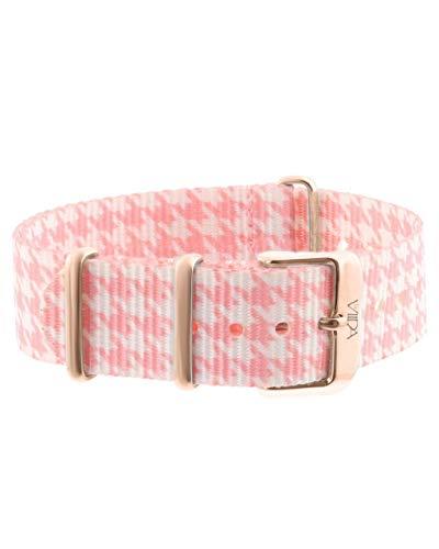 laVIIDA Uhrband LB-SIB1707R Ersatzband Uhrenarmband Stoff 18 mm Rosa-Weiß-Rosé