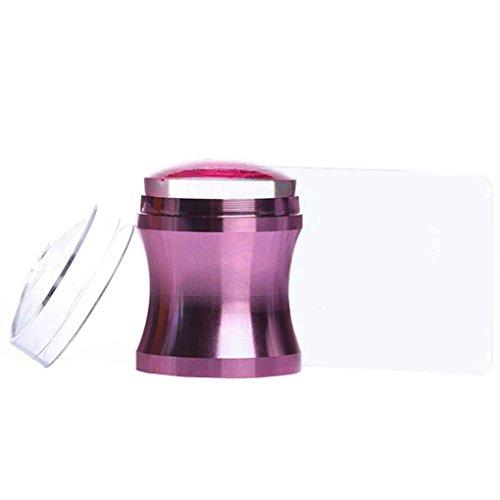 Sunlera Violet en alliage d'aluminium poignée en métal clou Stamper 3.8cm en silicone transparent Jelly Head avec Cap Scraper Emboutissage