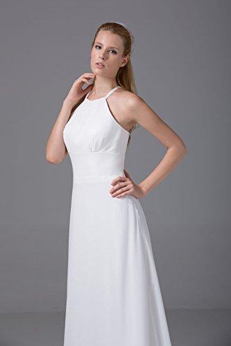 Bridal_Mall Damen mit Traeger Abendkleider Bodenlang Einfach Prom Partykleid Rosa