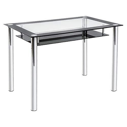 Homcom tavolo da pranzo cucina soggiorno design moderno con piano in vetro trasparente 110 × 70 × 75cm nero