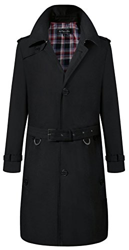 The Platinum Tailor Mens Black Single Breasted Trench Coat Cotton Military Rain Traditional Mac