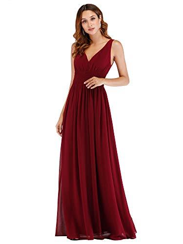 Ever Pretty Damen Elegante V-Ausschnitt A Line Lange Chiffon Formal Abend Brautjungfernkleider Burgundy 46