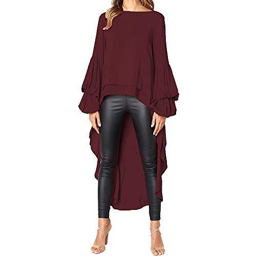Geili Damen Mode Cool Lange Bluse Frauen Unregelmäßige Rüschen Hem Shirt Langarm Einfarbig Pullover Tops Party Blusen -