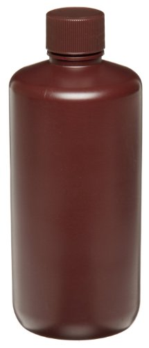 Wheaton 209129 Auslaufsichere HDPE-Flasche mit enger Öffnung und 28-410 Schraubverschluss, 72 mm Durchmesser x 171 mm Höhe, 500 mL, Braun (48-er Pack)