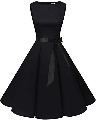 Kostüm Hepburn Audrey - bbonlinedress 50s Retro Schwingen Vintage Rockabilly Kleid Cocktail Faltenrock Black 2XL