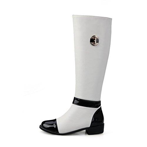AllhqFashion Damen Hoch-Spitze Gemischte Farbe Reißverschluss Niedriger Absatz Stiefel Weiß