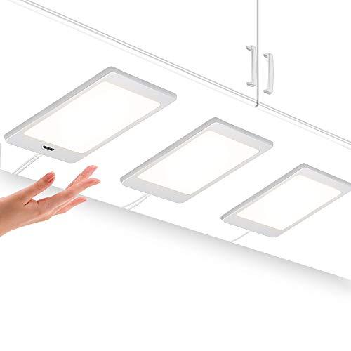 LED Küchenunterbauleuchten Schrankleuchten Flach mit Berührungsloser Sensor Schalter Hohe Helligkeit 450Lm/ Lampe Beleuchtung Neutralweiß 4000K 3er 5W Lampen und 1er Netzteil von Enuotek -