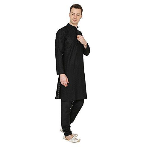 Ruchi Mart Indischer traditioneller Wear Black Herren Designer Kurta-Pyjama Baumwolle Ethnic Kleid (Herren Kurta Designer)