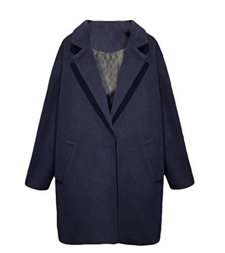 CuteRose Women Fall Winter Fashion Thick Turn-down Collar Long Trench Coat Navy Blue XS Knee Length Down Coat