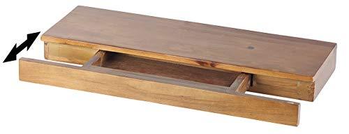 Carlo Milano Regal mit Schublade: Wandregal aus Zedernholz mit versteckter Schublade, 50 x 5 x 18 cm (Holzregal) -