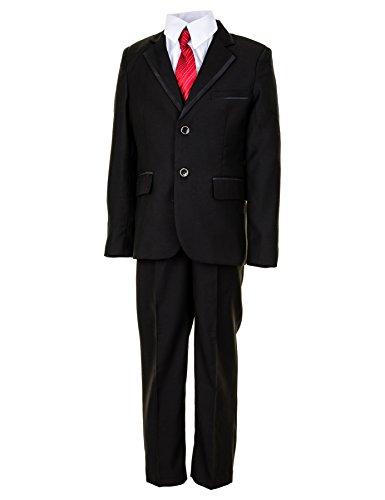 Festlicher 5tlg. Jungen Anzug in Vielen Farben mit Hose, Hemd, Weste, Krawatte und Jacke M291sw Schwarz Gr. 6/110/116