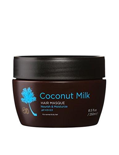Luseta Masque pour cheveux au lait de coco 250 ml, crème hydratante pour cheveux 100% naturelle à base de noix de coco pure, répare les cheveux abîmés, apporte volume et brillance aux cheveux, soin hydratant et protecteur contre les rayons du soleil et les UV