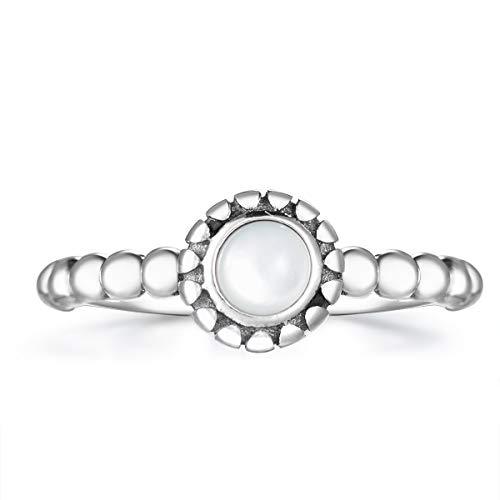 Guzhile Damen 925 Sterling Silber Ringe rund Mondstein Edelstein Schmuck Natur Vintage Edelstein Boho Bohemian Verstellbar Offener Ring