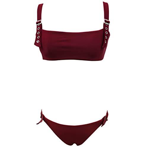 XuxMim Bikini-Badeanzug-Badebekleidung der Frauen Zweiteiliger Fester reizvoller aufgeteilter Badeanzug(Rot,Small)