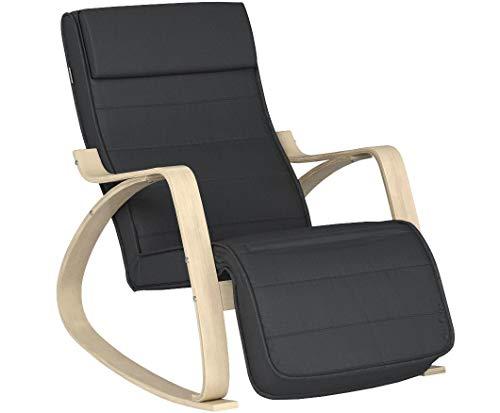 SONGMICS Schaukelstuhl Relaxstuhl 5-Fach verstellbares Fußteil Belastbarkeit, Grau LYY10G