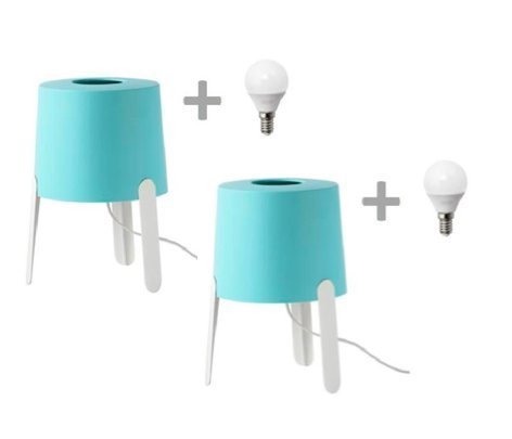 2 Lámparas de mesa Ikea Tvars, color Turquesa, con Bombillas LED incluidas