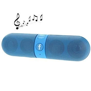DEEP GLOBAL Mini Portable Bluetooth Capsule Speaker with FM SD Card Input | MP107 Music Player | Handsfree | Stereo Speaker | HD Audio Compatible for/with Xiaomi Redmi Note 6 Pro 6GB RAM (Blue)