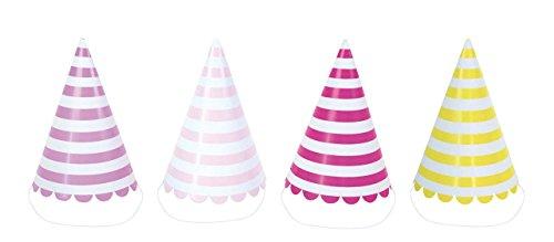 Lila Rosa Streifen (JaBaDaBaDo Party Hüte mit Streifen in pink, lila, rosa & gelb (8 Stück))