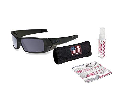 Oakley Lens Cleaning Kit (Oakley Gascan Sunglasses (Multicam Black Frame/Gray Lens) with USA Flag Lens Cleaning Kit)