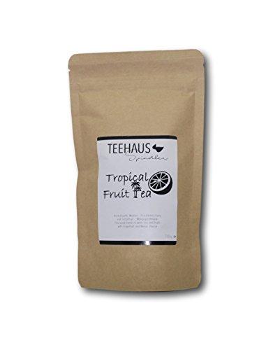 Tropical Fruit Tea 100g - Teehaus Spindler - Weißer Tee (42%), Bananen-Chips (Banane, Kokosöl, Zucker, Aroma), Johannisbrotstücke, Ananasstücke (Ananas, Zucker, Säuerungsmittel: Zitronensäure), süße