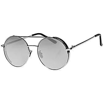 CASPAR SG042 Lunettes de soleil pilote hippie rétro modèle XL étui inclus, Couleur:argenté / miroir argenté;Größe:One Size