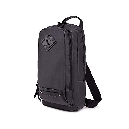 ZSYUN Herren Chest Tasche Diagonal Rucksack Multi-Funktions-Schulter-diagonales Kreuz Bag Outdoor Wallte Regenschirm Aufbewahrung Große Kapazität (Farbe : Black, Größe : M) -