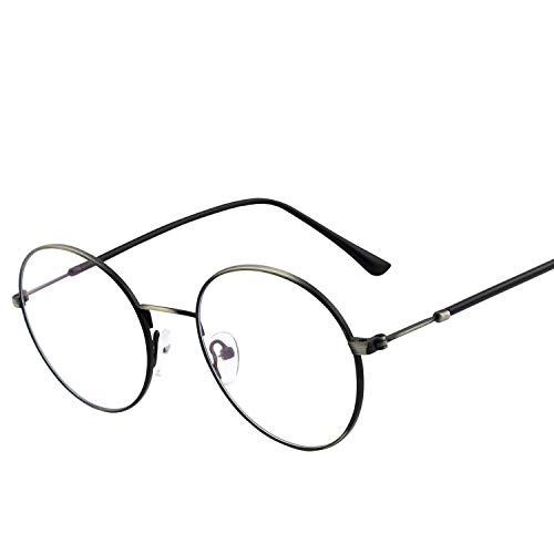 GQUEEN Computer-Brille, die blaues Licht ausblockt, Anti Blenden und Augen-Ermüdung mit Retro- rundem Metallrahmen, GQ40
